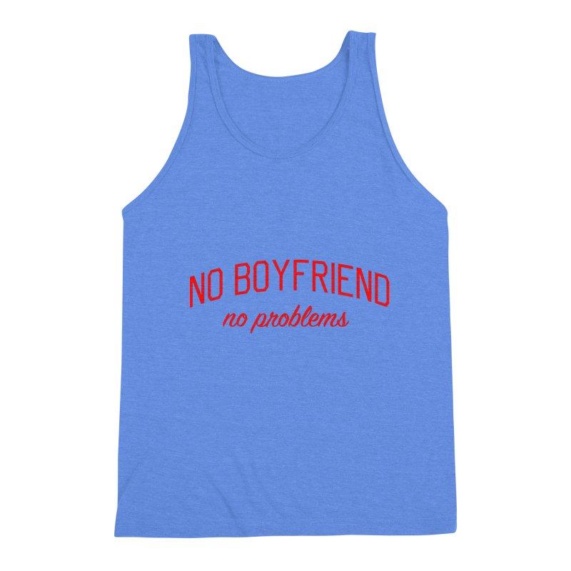 No Boyfriend No Problems - Single on Valentine's Day Men's Triblend Tank by Bicks' Artist Shop