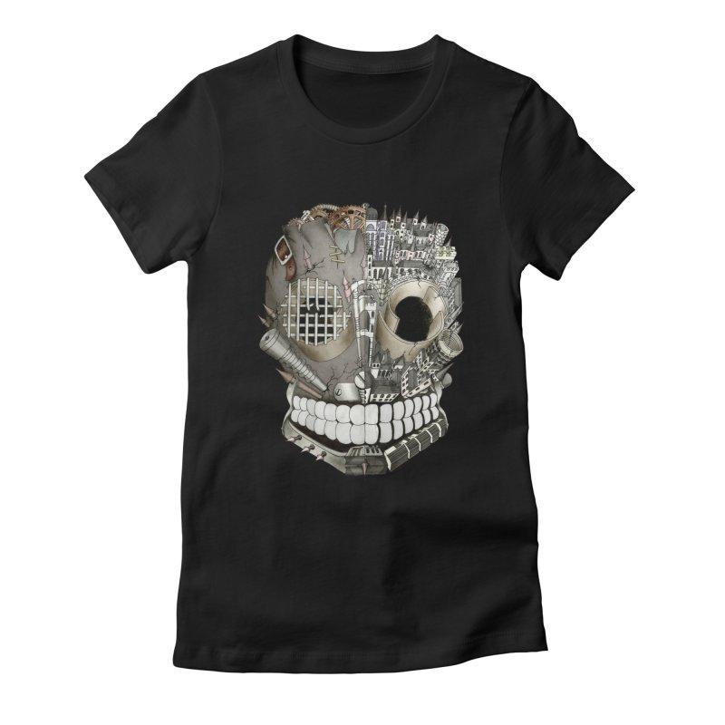 Bio skull Women's Fitted T-Shirt by bidule's Artist Shop