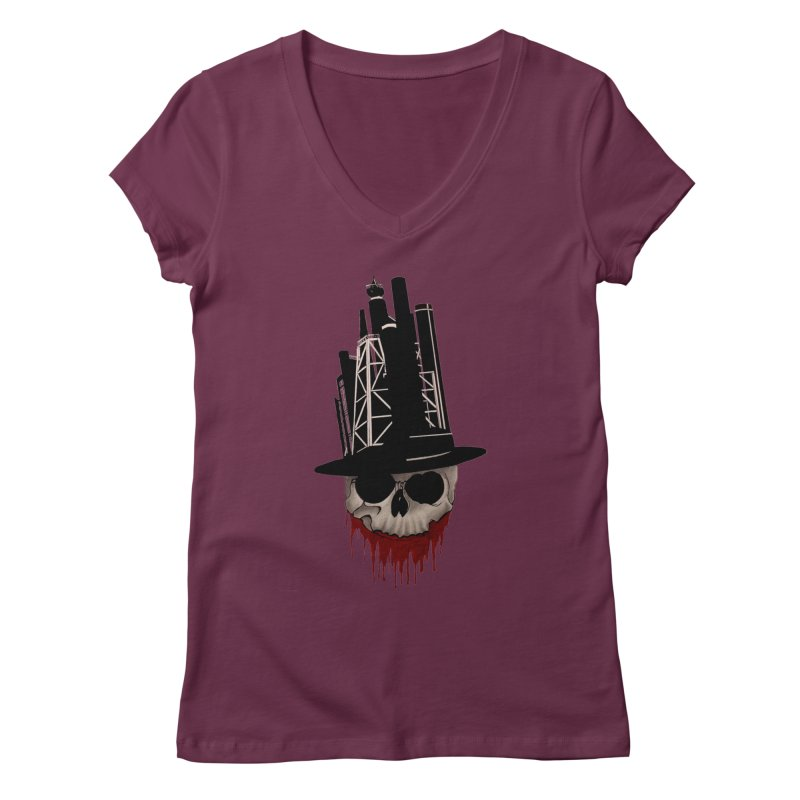 Skull and town Women's V-Neck by bidule's Artist Shop