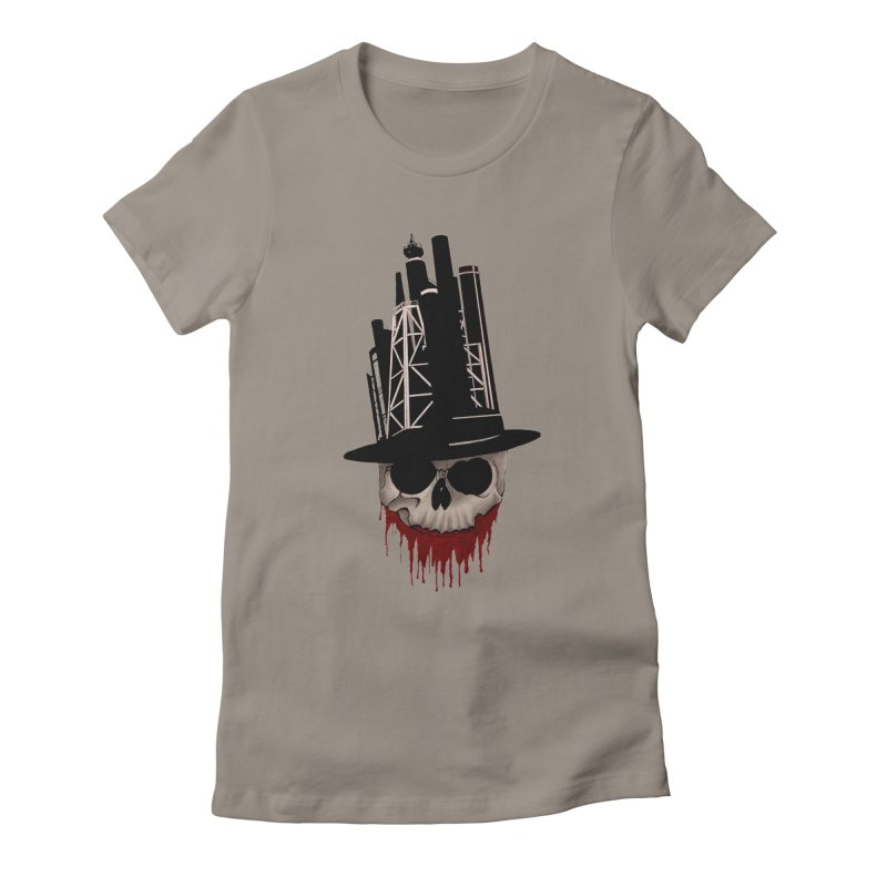 Skull and town Women's Fitted T-Shirt by bidule's Artist Shop