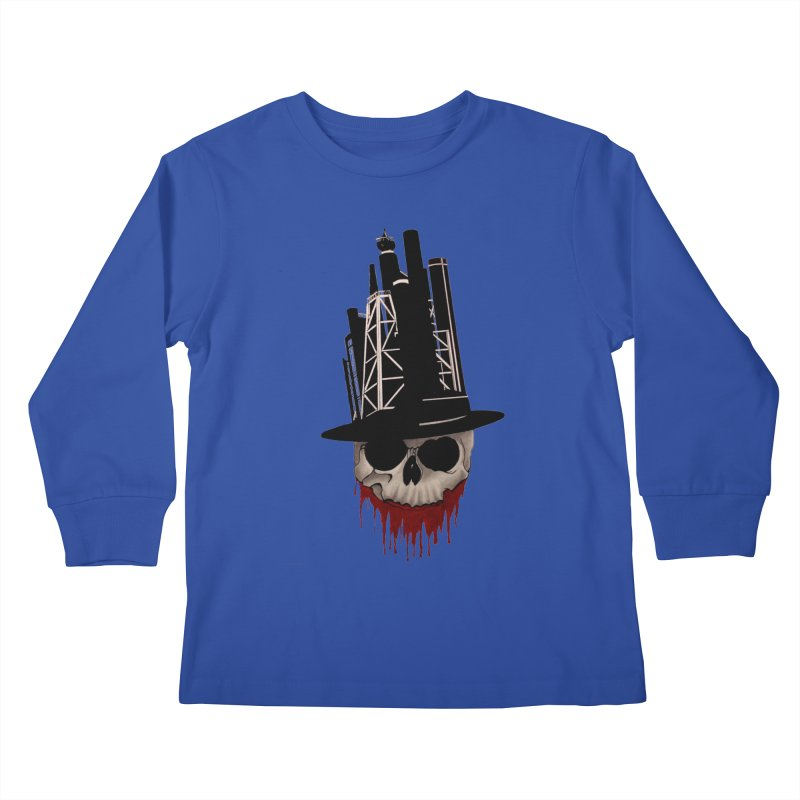 Skull and town Kids Longsleeve T-Shirt by bidule's Artist Shop