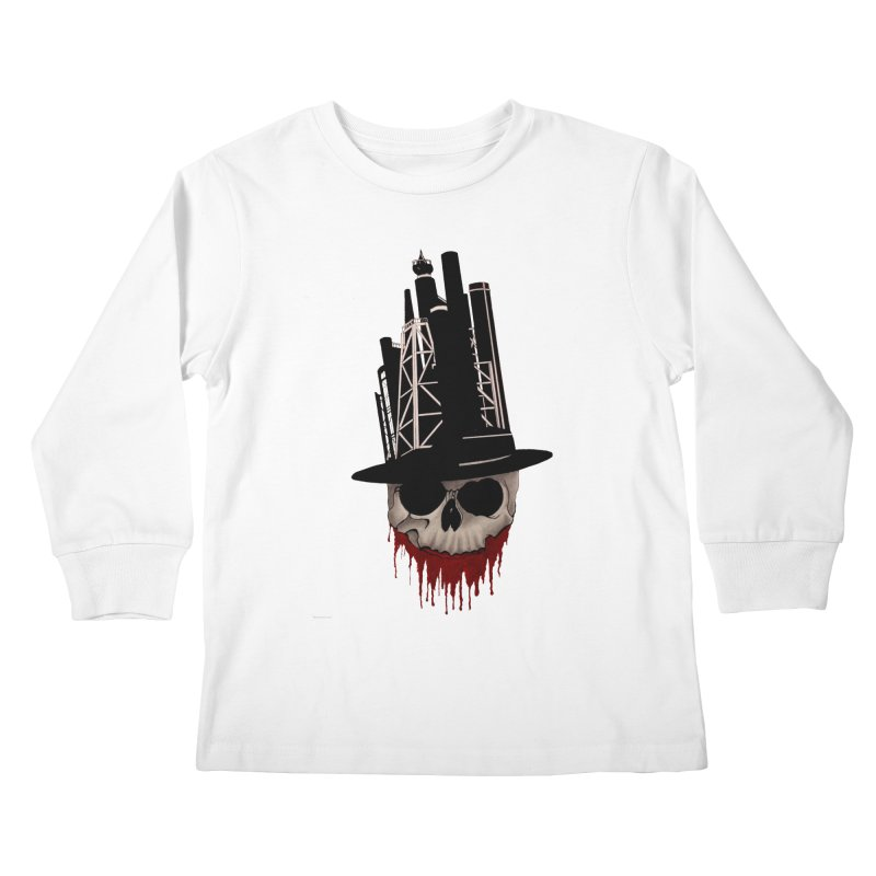 Skull and town Kids Longsleeve T-Shirt by bidule's Artist Shop