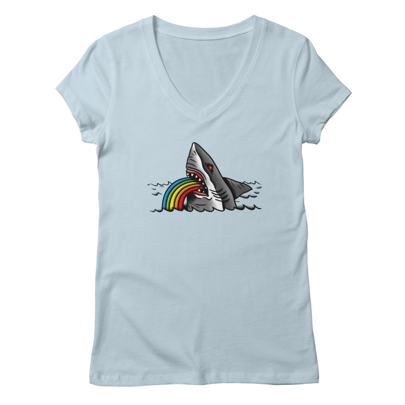 Great white balance in Women's Regular V-Neck Baby Blue by biernatt's Artist Shop