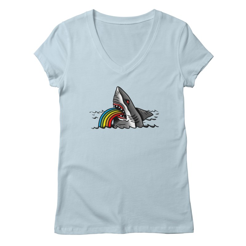 Great white balance in Women's V-Neck Baby Blue by biernatt's Artist Shop