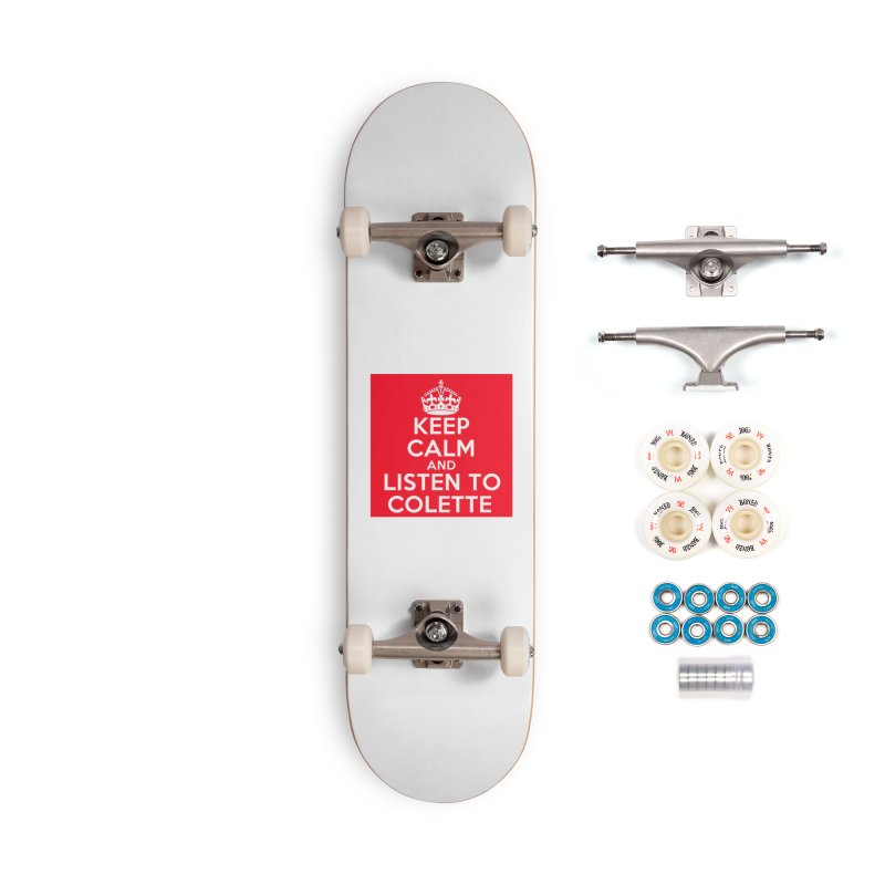 Keep Calm And Listen To Colette - Red Accessories Complete - Premium Skateboard by The Official Store of the Big Brother Gossip Show
