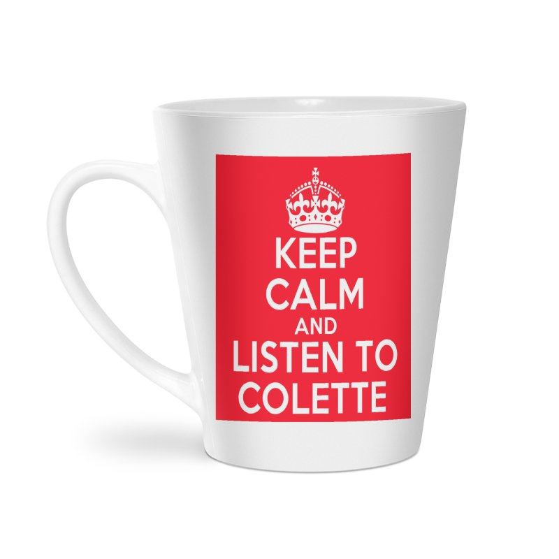 Keep Calm And Listen To Colette - Red Accessories Latte Mug by The Official Store of the Big Brother Gossip Show
