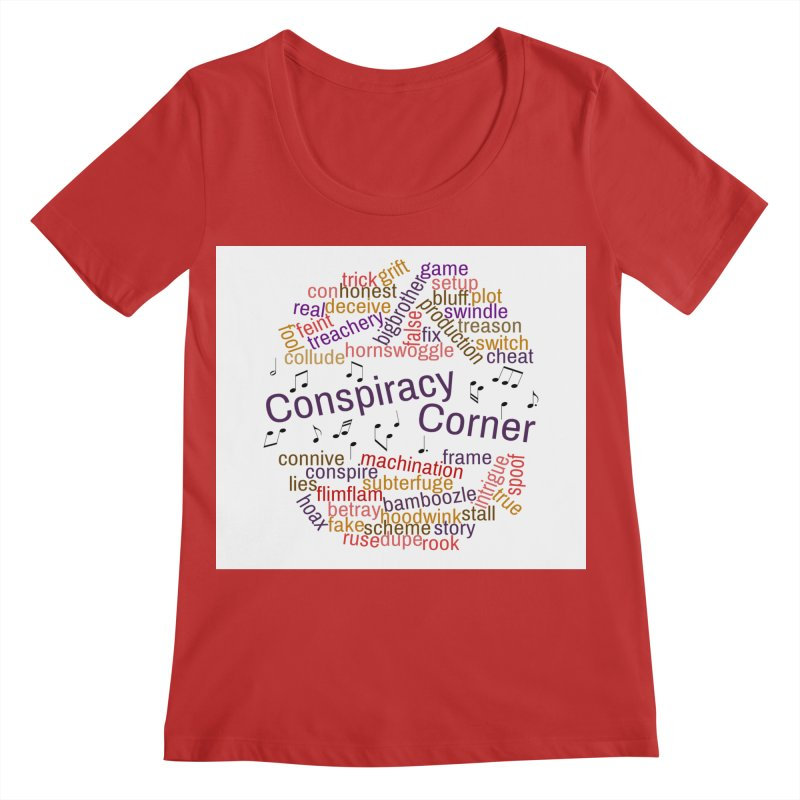 Conspiracy Corner Women's Regular Scoop Neck by The Official Store of the Big Brother Gossip Show