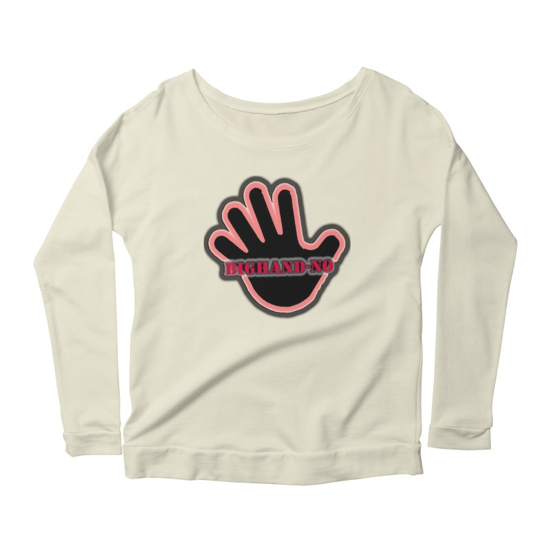 BIGHAND SMACK Women's Scoop Neck Longsleeve T-Shirt by BIGHAND-NO's Artist Shop