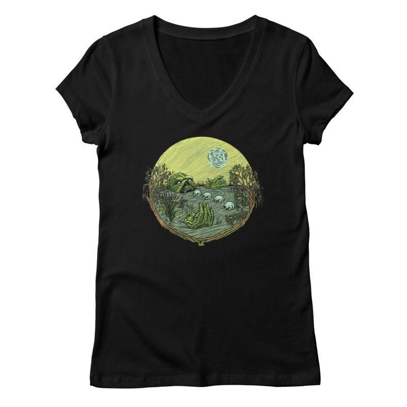 Swamp Pizza Women's V-Neck by Big Pizza