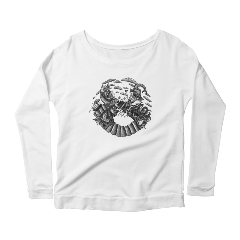 Sea Beast Women's Longsleeve Scoopneck  by Big Pizza