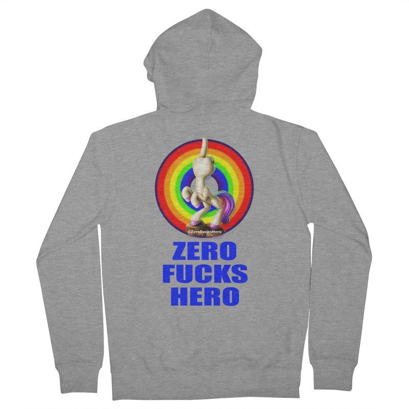 Zero Fucks Hero - Blue Men's French Terry Zip-Up Hoody by Bigshot Apparel Works