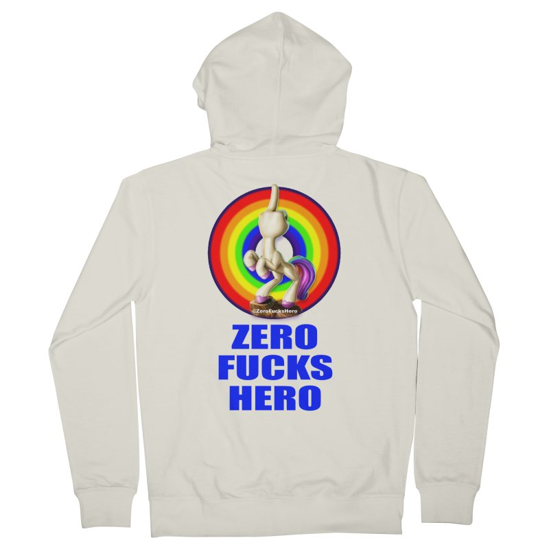 Zero Fucks Hero - Blue Men's French Terry Zip-Up Hoody by Bigshot Apparel Works