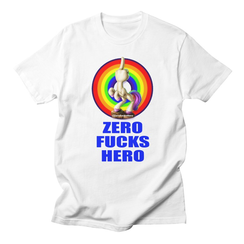 Zero Fucks Hero - Blue in Men's Regular T-Shirt White by Bigshot Apparel Works