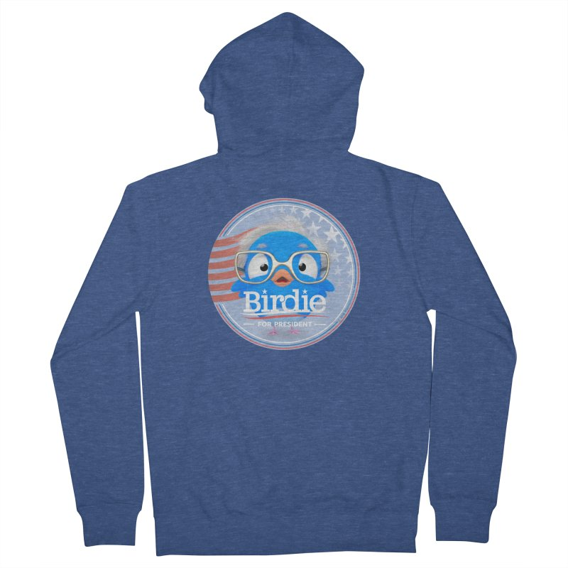 Birdie for President - Bernie Sanders 2016 Badge Logo Men's French Terry Zip-Up Hoody by Bigshot Apparel Works