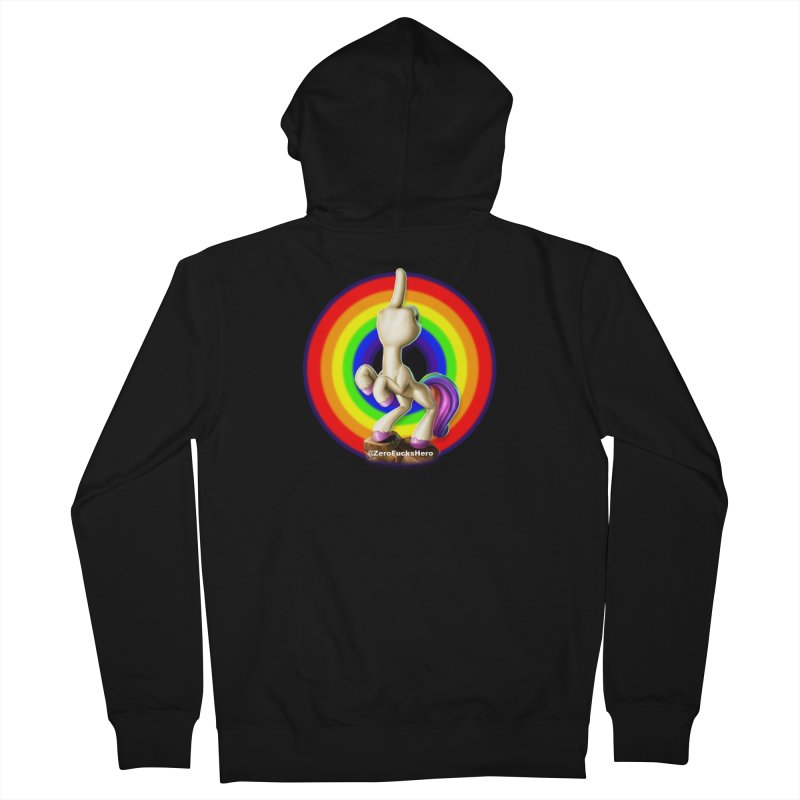 Zero Fucks Hero - the FUnicorn Men's French Terry Zip-Up Hoody by Bigshot Apparel Works