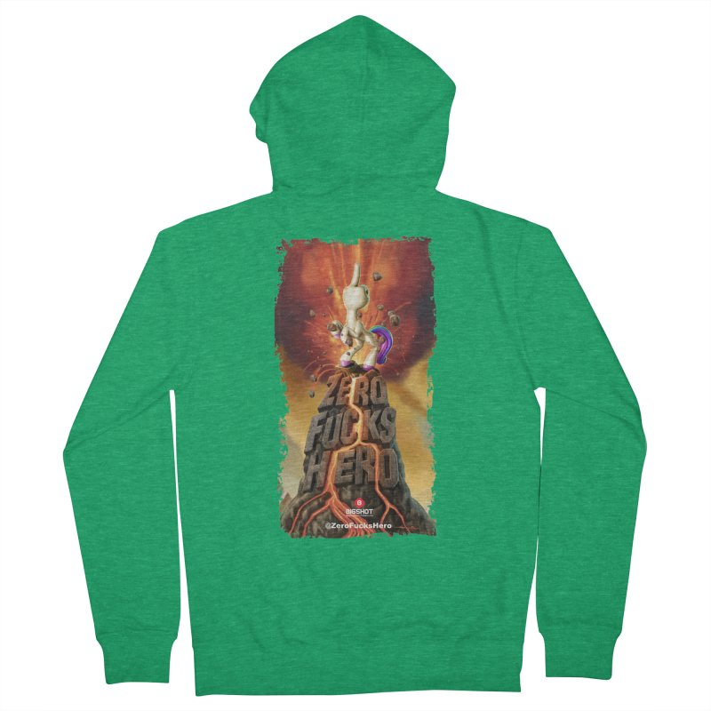Zero Fucks Hero by Jason Edmiston Men's French Terry Zip-Up Hoody by Bigshot Apparel Works
