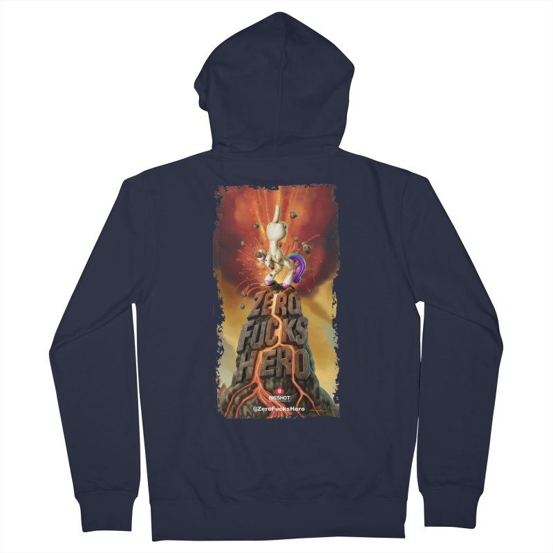 Zero Fucks Hero by Jason Edmiston in Men's French Terry Zip-Up Hoody Navy by Bigshot Apparel Works