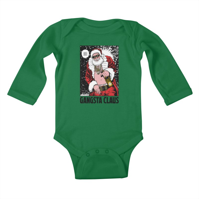 Gangsta Claus Kids Baby Longsleeve Bodysuit by Billmund's Artist Shop