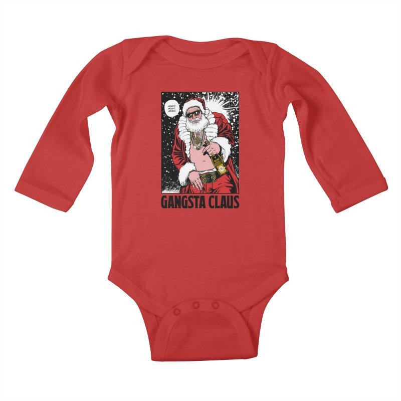 Gangsta Claus Kids Baby Longsleeve Bodysuit by Billmund's Artist Shop