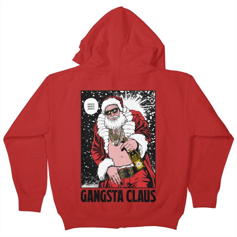 Gangsta Claus Kids Zip-Up Hoody by Billmund's Artist Shop