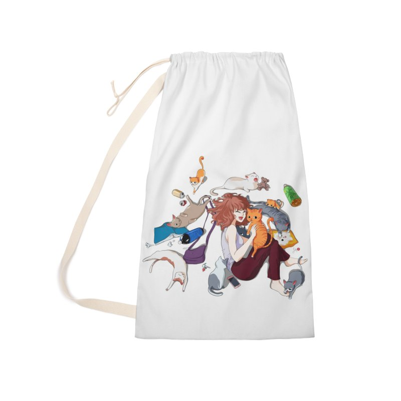 Anime Cat Girl Accessories Laundry Bag Bag by Designs by Billy Wan