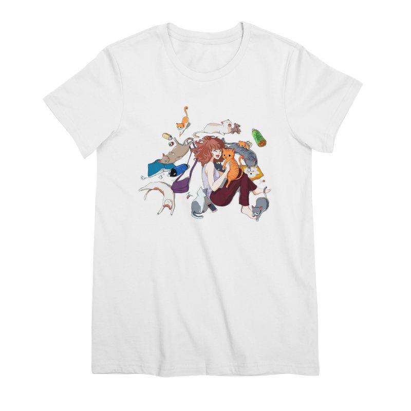 Anime Cat Girl Women's Premium T-Shirt by Designs by Billy Wan