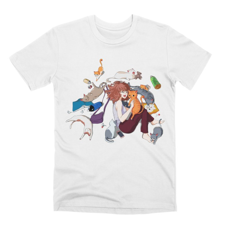 Anime Cat Girl Men's Premium T-Shirt by Designs by Billy Wan