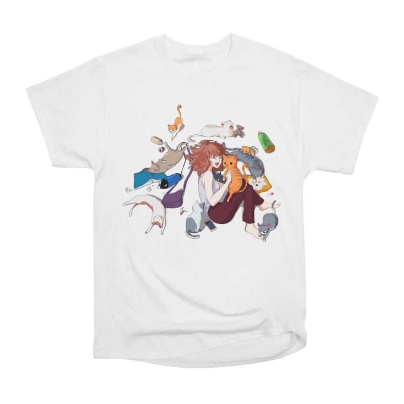 Anime Cat Girl Men's Heavyweight T-Shirt by Designs by Billy Wan