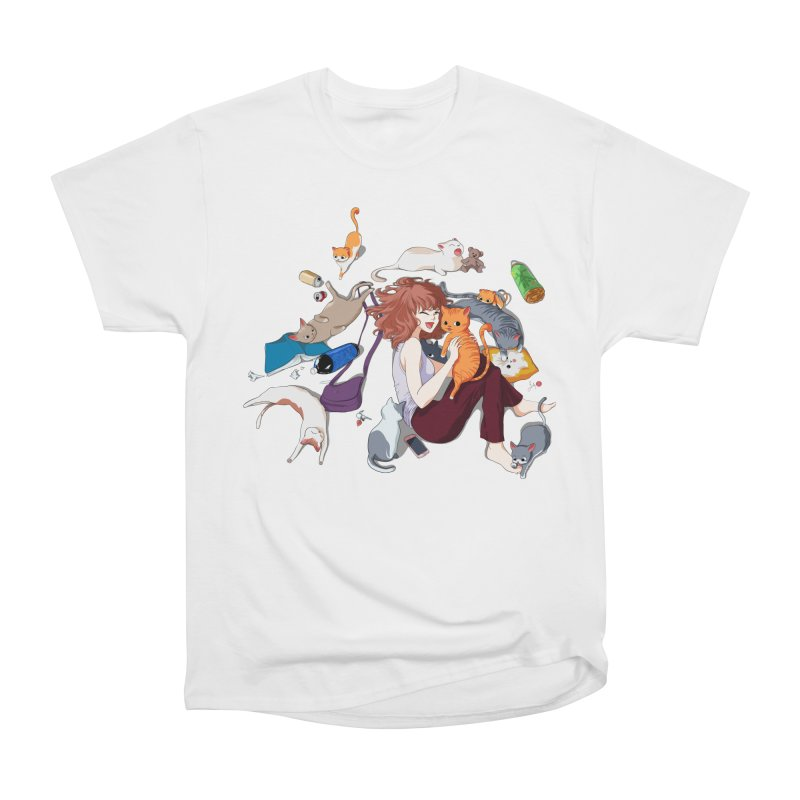 Anime Cat Girl Women's Heavyweight Unisex T-Shirt by Designs by Billy Wan