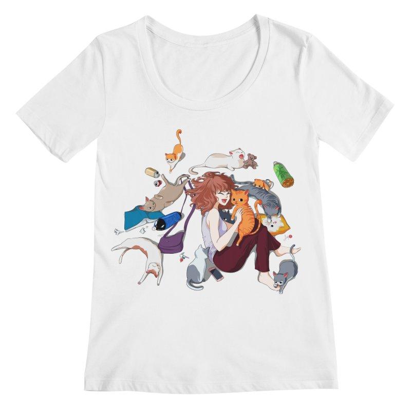 Anime Cat Girl Women's Regular Scoop Neck by Designs by Billy Wan