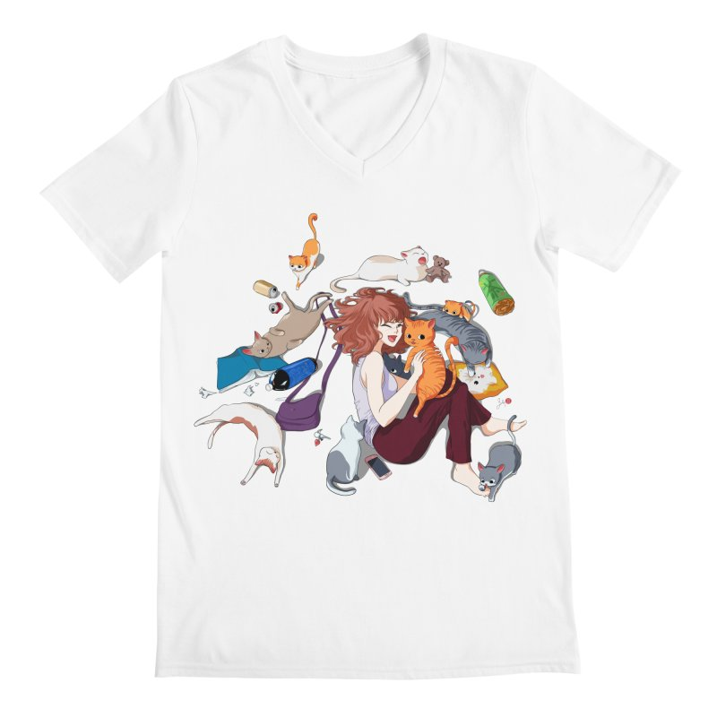 Anime Cat Girl Men's V-Neck by Designs by Billy Wan