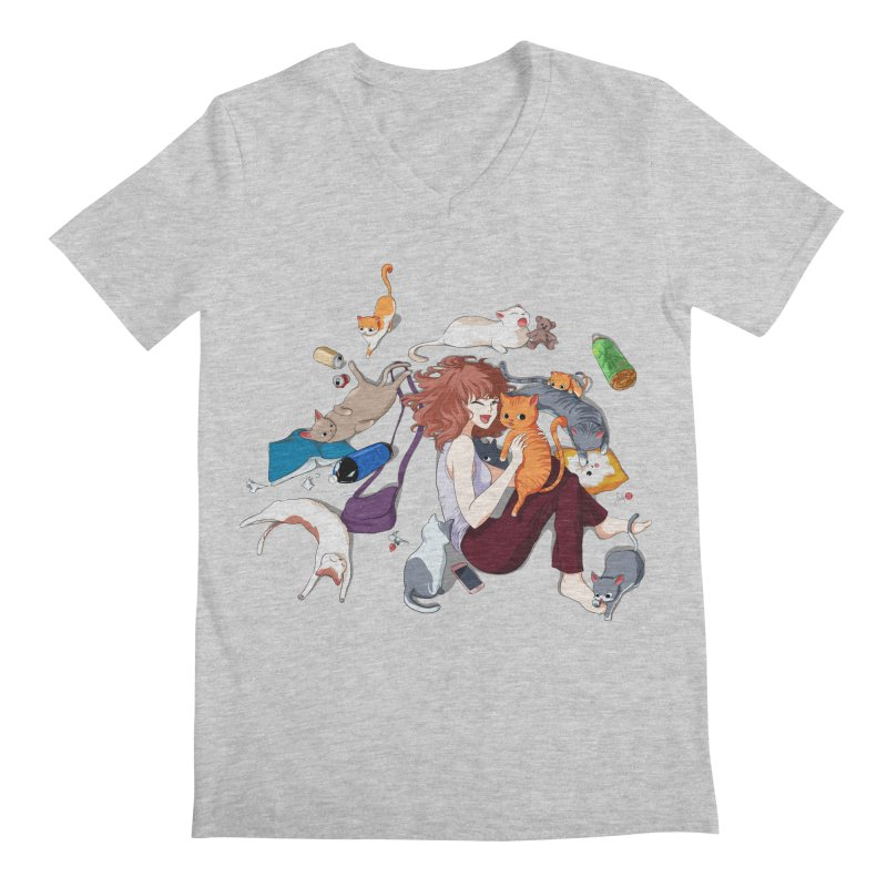 Anime Cat Girl Men's Regular V-Neck by Designs by Billy Wan
