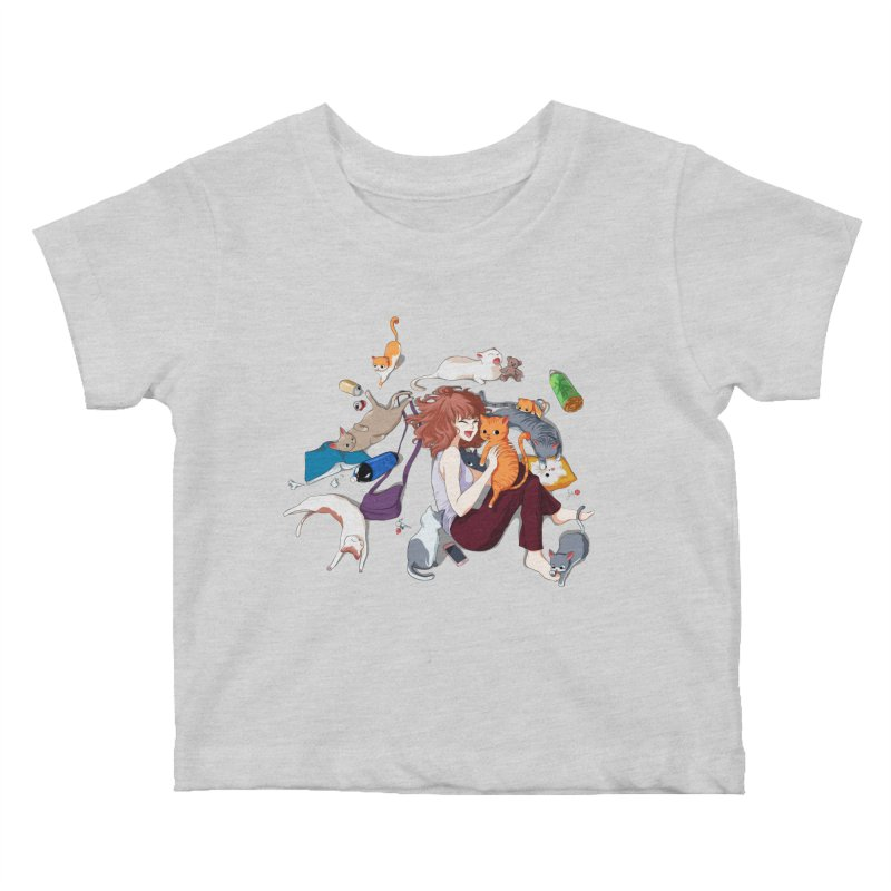 Anime Cat Girl Kids Baby T-Shirt by Designs by Billy Wan