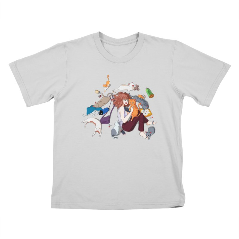Anime Cat Girl Kids T-Shirt by Designs by Billy Wan