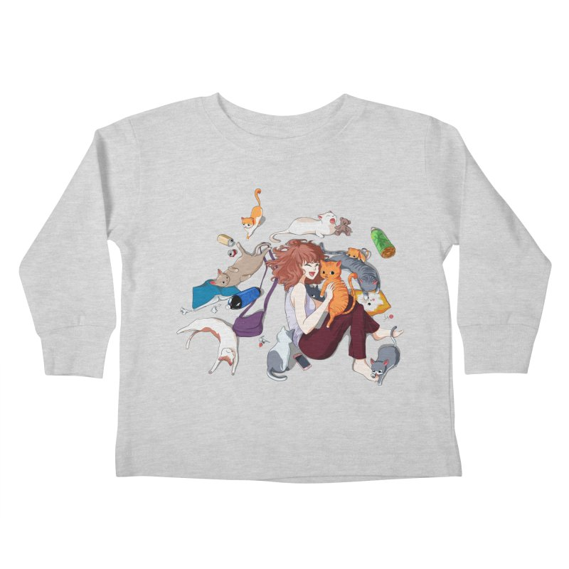 Anime Cat Girl Kids Toddler Longsleeve T-Shirt by Designs by Billy Wan