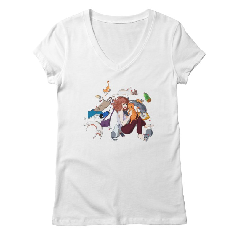 Anime Cat Girl Women's Regular V-Neck by Designs by Billy Wan