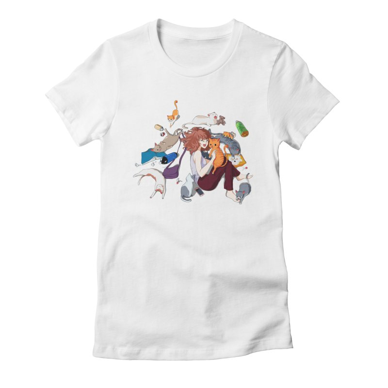 Anime Cat Girl Women's Fitted T-Shirt by Designs by Billy Wan
