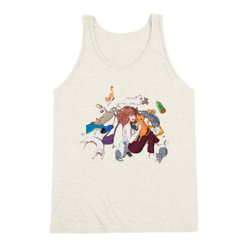 Anime Cat Girl Men's Triblend Tank by Designs by Billy Wan