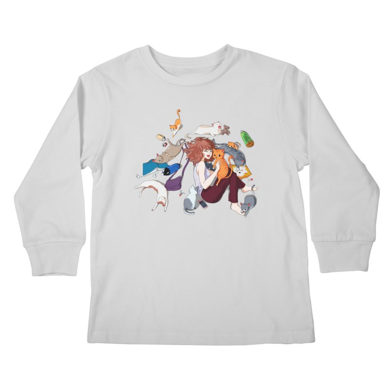 Anime Cat Girl Kids Longsleeve T-Shirt by Designs by Billy Wan