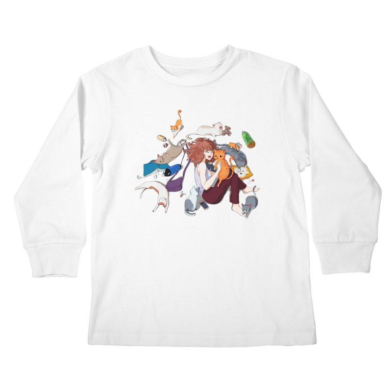 Anime Cat Girl Kids Longsleeve T-Shirt by Designs by Billy Wan