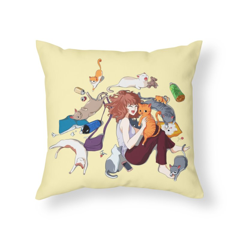 Anime Cat Girl Home Throw Pillow by Designs by Billy Wan