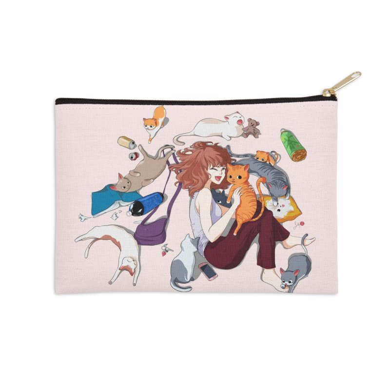 Anime Cat Girl Accessories Zip Pouch by Designs by Billy Wan