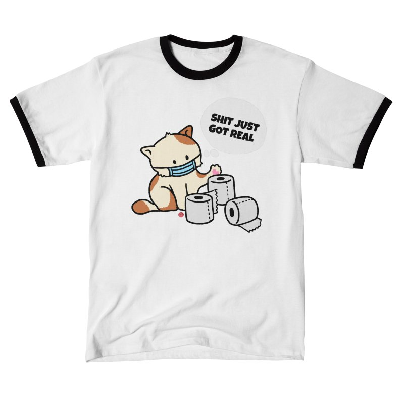 Shit Just Got Real Cat Men's T-Shirt by Designs by Billy Wan