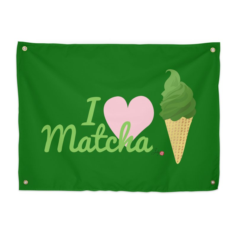 I Love Matcha Ice Cream Home Tapestry by Designs by Billy Wan