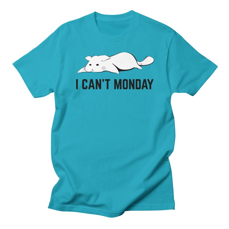 I Can't Monday in Men's Regular T-Shirt Cyan by Designs by Billy Wan