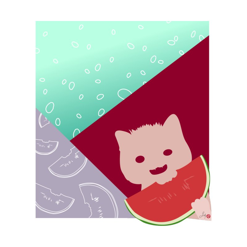 Watermelon Cat Kids T-Shirt by Designs by Billy Wan