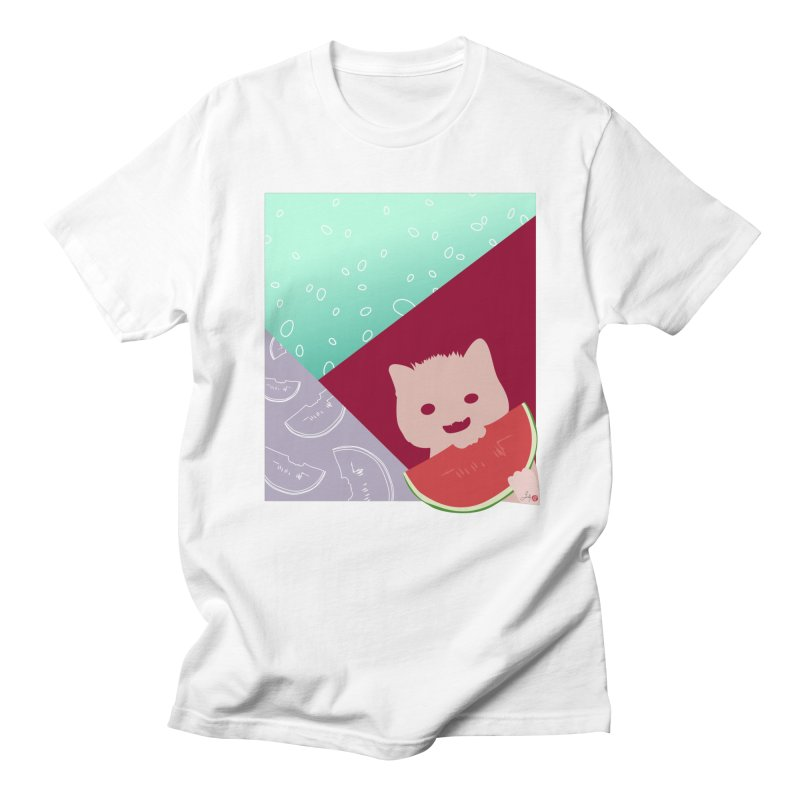 Watermelon Cat in Men's Regular T-Shirt White by Designs by Billy Wan