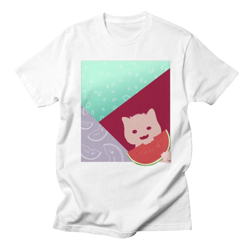 Watermelon Cat in Men's Regular T-Shirt White by Designs by Billy Wan