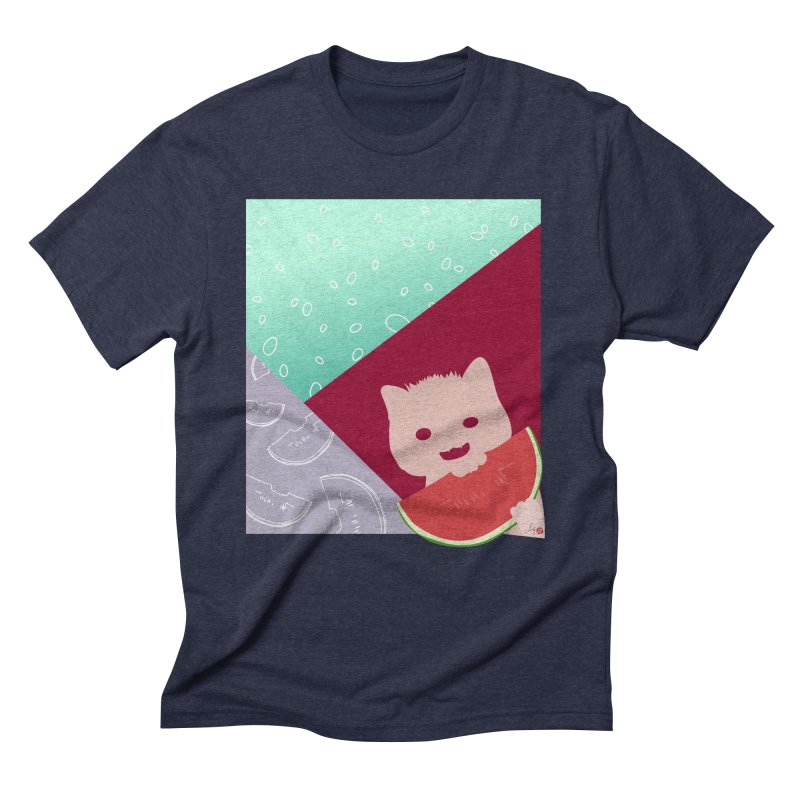 Watermelon Cat in Men's Triblend T-Shirt Navy by Designs by Billy Wan