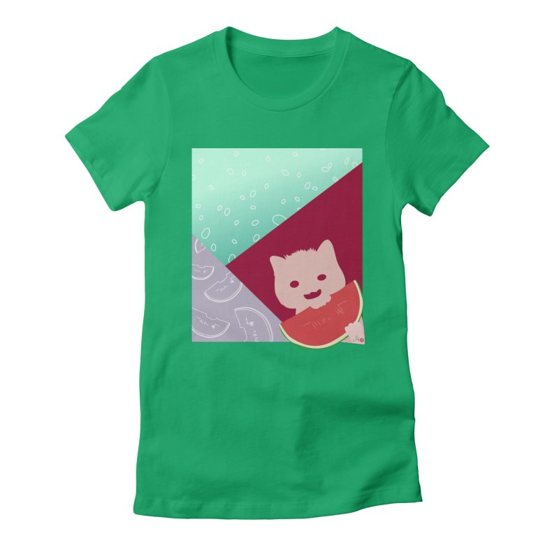 Watermelon Cat Women's T-Shirt by Designs by Billy Wan